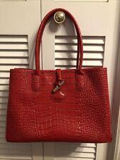 Longchamp Roseau Toggle Bordeaux Croc Leather Large Tote Bag