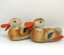 Steiff Play Duck Swimming x 2 Brown Mohair Plush 12cm 5in 1960s Vintage no ID