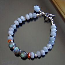 U&C Sundance Moss Aquamarine Jade, Carnelian, Labradorite .925 Silver Bracelet
