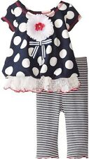 New Bonnie Baby Girl's Scuba Dot/striped Legging Set, Size 3-6 Months