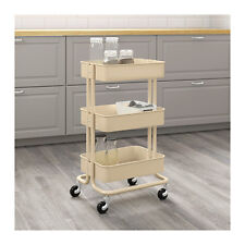 Beautiful New IKEA Raskog Home Kitchen Bedroom Storage Steel Utility Cart, Beige