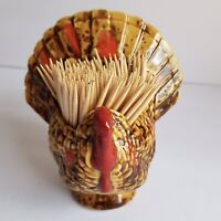 "Vintage Thanksgiving Ceramic Turkey Toothpick Holder 3 3/4"" tall"
