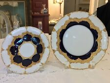 """Meissen Germany B Form 7 7/8"""" Plate & Saucer / Geniune Crossed Swords First Qty"""