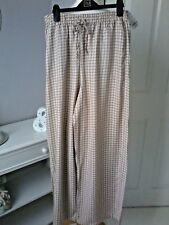 UNIQLO trousers size S brand new loose fit palazzo elasticated floral taupe pink