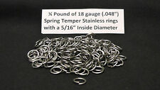 """1/4 Pound of 18G Stainless Steel jump rings with a 5/16"""" I.D., Made in the USA"""