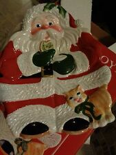 Fitz and Floyd Santa Canape Plate Christmas New Box