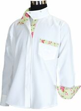 Equine Couture Bindia Long Sleeve Show Shirt - White & Jade - Child's Size 6