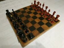 Wooden old chess set 1951 made vintage USSR red black chessmen pieces soviet