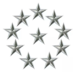 silver star sew on/iron on embroidery patch - perfect for clothes or bag