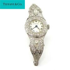 NYJEWEL Art Deco Tiffany & Co Platinum 2ct Diamond Bracelet Watch Runs