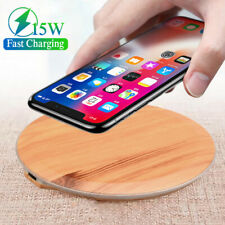 15W Wood Qi Wireless Charger Fast Charging Dock For iPhone 8 X XR XS 11 Pro Max