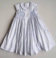 NECK & NECK Girls 6 (5?) Yrs Blue Floral Smocked Ruffled Dress EUC 106-118 cm