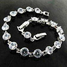 Bracelet Bangle Real 925 Sterling Silver S/F Diamond Simulated Tennis Design
