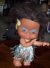 """HAWAIIAN HULA GIRL BABY DOLL 9"""" Figure (Hawaii grass skirt dancer toy) Vintage"""