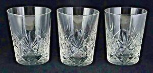 3 Vintage Cut Glass Flat Tumblers Fans & Criss Cross Pattern