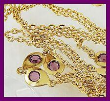 "Dainty Vintage 55"" Long Sautoir Necklace w/ Bezel Set Purple Swarovski Crystal s"