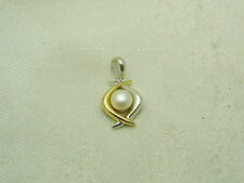 GORGEOUS 14K Two Tone 5 1/2 mm CULTURED SALT WATER PEARL PENDANT NECKLACE N109-U