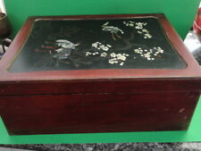 Antique Japanese Lacquer Wood Box Mother Of Pearl Inlay
