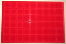 VASSOIO 54 CASELLE 32x32 mm per Monete Medaglie in Floccato rosso MASTERPHIL