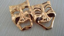 Face Gold Tone Pin Theatre Mask Brooch Sad Happy