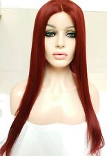 Red, Straight Human Hair Wig, Lace Front Wig, Free Part Wig, Transparent Lace