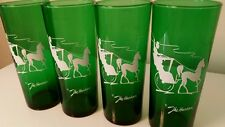 "Vtg Forest Green Tumblers (4) * Anchor Hocking ""The Hansom"" * Highball * 14oz"