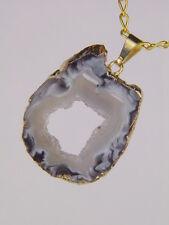 BUTW Gold Electroform Occo Agate Geode Slice Druzy Pendant necklace 6201K