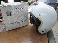 "Vintage Vepo Size 7 3/8"" Elios White Helmet Made in Italy Vespa Scooter Moped"