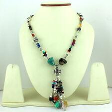Natural Carnelian Peridot Multi Gemstone Beaded Necklace 65 Grams