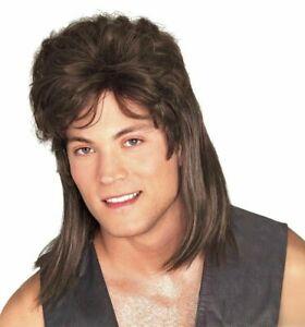 Mullet Wig Brown Adult Costume Hair Redneck Trailer Hillbilly 70s 80s Rocker Joe
