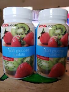 CVS Soft Glucose Tablets 4g glucose Fast Acting kiwi straberry 36 tabs LOT OF 2