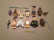 LEGO lot of 10 Star Wars Good Guy Minifigs Yoda Luke Leia Han R2-D2 Chewie J340