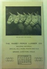 Grand Junction, Colorado Calendar Post Card 1908 advertising embossed horses