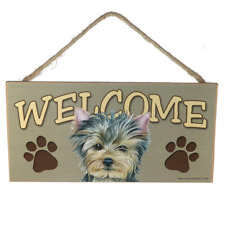"""Love & Laughter Wooden Dog Yorkie Yorkshire Terrier Welcome Sign 5"""" x 10"""""""