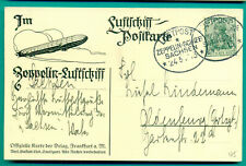 1913 ZEPPELIN LUFTSCHIFF SACHSEN BORDPOST KARTE PASSAGIER : OLDENBURG