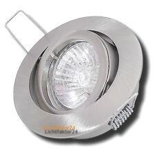 10 x IP20 Alu Druckguss Einbaustrahler Gu10 Halogen 230Volt Dimmbar, Silber geb.