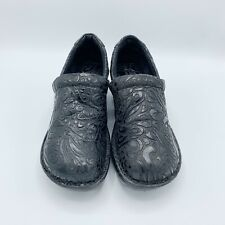 B.O.C. Born Womens Sz 8M Black Embossed Leather Comfort Clogs Slip On