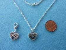 "Set Best Friend Dog Paw Necklace 18"" + Clip on Bag Charm Birthday Gift # 203"