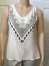 APT 9 Women's Beige Gold Black Embroidered Sleeveless  Top X Large XL 16/18