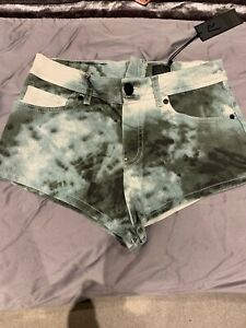 River Island Rihanna Green Tie Dye Shorts Size 10 BNWT