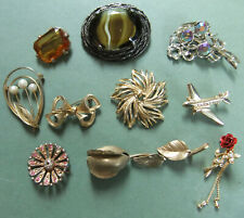 Joblot Of Vintage Brooches - Large Glass Stones, Aeroplane, Roses, Abstract, Etc
