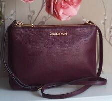 Michael Kors Adele Maroon Leather Double Gusset Crossbody Bag Fits iPad mini