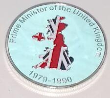Margaret Thatcher Silver Coin England London Political Iron Lady 80s 70s Retro U