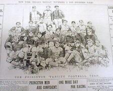 1896 newspaper w Lg engraving PRINCETON FOOTBALL TEAM National College Champions
