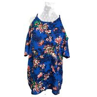 New Three Heart Top Size Large Cold Shoulder Blouse Blue Womens NWT Womens