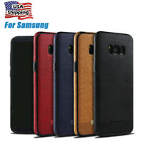 For Samsung Galaxy S8 S9 Plus Ultra Slim Luxury Leather Back Case Thin PU Cover
