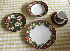 "Sakura ""Splendor"" Burgundy Holiday Christmas China 5 Piece Place New"