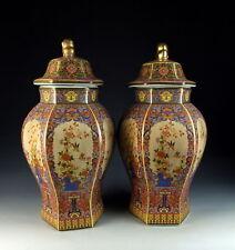 Amazing China Antiques Pair of Enamel Ware Color Porcelain Lidded Ginger Jars