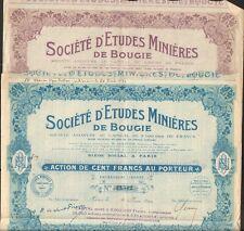 2 titres: Etudes Minières de BOUGIE (ALGÉRIE)  (O)