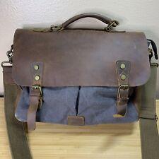 Lifewit Genuine Leather Flap 15 Inch Grey Canvas Messenger Satchel Laptop Bag
